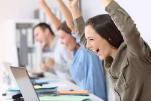 Excited employees engaged company good IT support